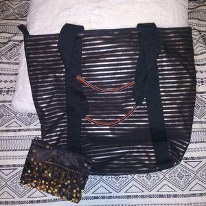 Bath and bodyworks tote and makeup bag
